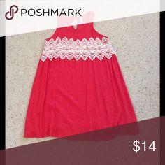 Dress Coral and cream dress.... super cute! Only worn 2 times. Xhilaration Dresses Midi