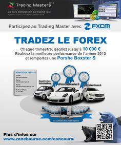 Participez au Trading Masters avec FXCM !  10 000 euros à gagner chaque trimestre,  SEULEMENT 60 participants actifs, Spreads très compétitifs, Suivi pédagogique (formations en live, Wébinaire, Forum... ). Plus d'infos ici : http://www.zonebourse.com/concours/landing/fxcm/