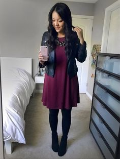 Putting Me Together. Plum dress+black tights+black ankle boots+black leather jacket+necklace. Fall Evening Going Out Outfit 2016