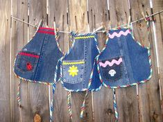 Denim Kids Aprons Size Small Recycled Denim Play Aprons Fit | Etsy