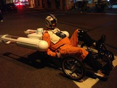 Final product: My Greenspeed GT-3 trike as a Y-Wing fighter (with astromech droid)  Go vote from him for Thinkgeekoween!