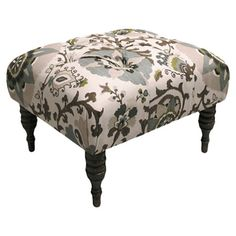 The Silsila Rhinestone Tufted Ottoman is a handsome ottoman right-sized for your bedroom. This ottoman is upholstered in an exotic pattern of sophisticated. Floral Furniture, Furniture Ideas, Unique Furniture, Devine Design, Upholstered Ottoman, Home Decor Accessories, Home Goods, Upholstery, Skyline