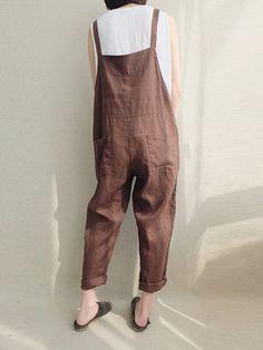 Casual Strap Pocket Pure Color Jumpsuit For Women