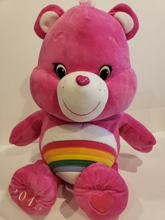 Care Bears Cheer Bear Pink Rainbow X-Large Jumbo Plush Stuffed 2015 Care Bears Plush, Plush Animals, Cheer, Teddy Bear, Rainbow, Dolls, Pink, Ebay, Baby Dolls