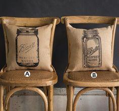 Mason Jar Feedsack Pillows