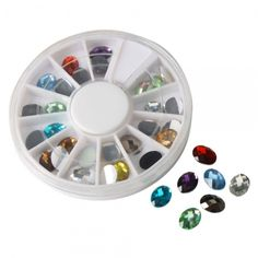 """36 Faceted Oval Rhinestones for Nail Art & Crafting - $3 start bid in the """"Supplies with a Surprise"""" LIVE auction, starting at 11p.m. Small crowd tonight...come catch some awesome deals on jewelry-making and crafting supplies!"""