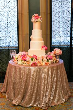 How classic and captivating is this cake table at Caroline and Taylor's wedding?! Love! // Photo by Tracy Autem Photography. #bridesofnorthtx #wedding #cake