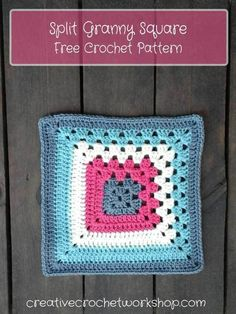 Split Granny Square - Free Crochet Pattern | Creative Crochet Workshop