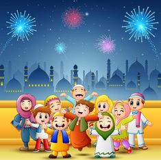 Photo about Illustration of Happy kids celebrate for eid mubarak with mosque and fireworks background. Illustration of child, mosque, girl - 93912491 Eid Background, Fireworks Background, Vector Background, Happy Ied Mubarak, Eid Mubarak, Ramadan Activities, Ramadan Crafts, Birthday Greetings For Sister, Eid Card Designs