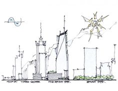 Sketch of the Bank of America Tower at One Bryant Park in New York City by Cook & Fox