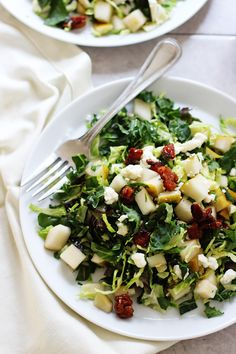 Chopped Brussels Sprout, Kale and Chard Salad with Candied Pancetta, Pears and Blue Cheese