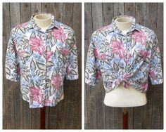 80s Vintage Oversized Blouse Tropical Vacation by ThingsRedeemed, $15.00