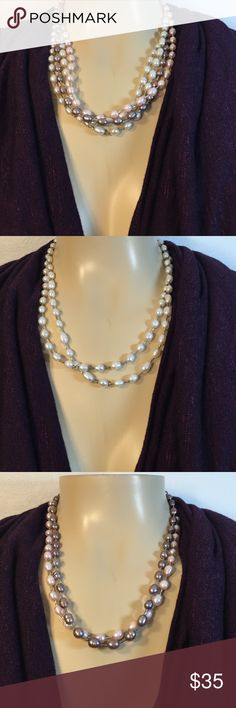 Multi pearl necklace This necklace is pretty cool! It has plenty of options for your daily use. Four strands of pearls pink, purple like, and two white pearl strands. The sterling silver toggle can slide off each strand making this four single necklaces in one. 😮😮😮 Jewelry Necklaces