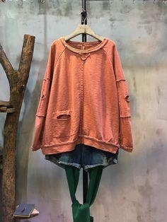 Korean Fashion Cotton Leisure T-shirt Womans Ripped Clothes  #ripped #clothes #leisure #t-shirt #top #orange #fashion #street #amazing