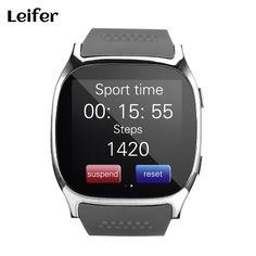Bluetooth Smart Watches Pedometer Watch Sport Wristwatch Support SIM &TF Card With Camera Sync Call Message for Android Phones (Black) Smartwatch, Sport Watches, Cool Watches, Android Watch, Android Phones, Musik Player, Camera Watch, Silver Pocket Watch, Swiss Army Watches