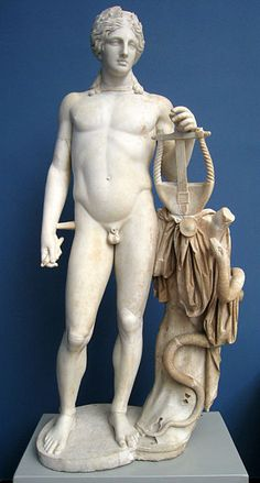 Greek god  is the son of Zeus & Leto, & has a twin sister, the huntress Artemis. Often depicted as the beardless young man, Apollo is known as the god of prophecy, music, intellectual pursuits, healing, plague, & sometimes, the sun. (the Roman god equivalent bears the same name)