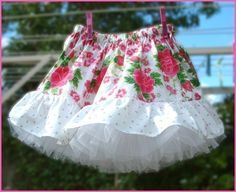 Girls skirt sewing pattern and separate petticoat pdf pattern ebook tutorial. $6.95, via Etsy.