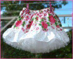 Girls skirt sewing pattern and separate petticoat pdf pattern ebook tutorial. $6.95, via Etsy.