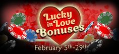 We're celebrating Valentines Day with a special promotion running from the 5th-29th Feb.  We're giving away 'Lucky in Love' bonuses to all our lovely depositing players as well as free spins.  Log into your account or visit our promo page for more details! http://www.luckywinslots.com/promotions/ #valentinesday #slots #luckywinslots