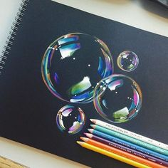 Manny Lucero @mannneylucero Finished these to...Instagram photo   Websta (Webstagram) Pencil Drawing Tutorials, Pencil Drawings, Black Paper, Colored Pencils, Bubbles, Sketches, Artwork, Painting, Instagram