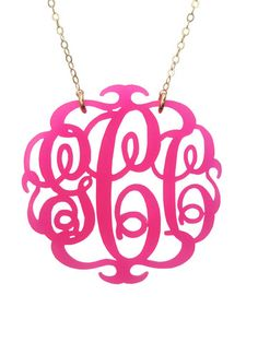 Acrylic Script Monogram Necklace, Moon & Lola, $58