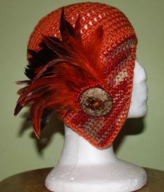 Spring Bling Flapper Hat - Ready to Wear - Orange b6b648252add