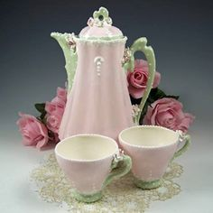 Pretty pink and green tea set