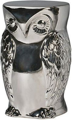 Contemporary, modern Furniture : Ottomans & Benches, Hoot Statue - Silver from Urban Barn to complement your style. Colorful Throw Pillows, Decorative Pillows, Decorative Accents, Porch Decorating, Interior Decorating, Decorating Ideas, Decor Ideas, Statues, Silver Side Table