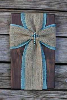Burlap cross on wood fabric cross on wood by SleepCreateRepeat Burlap Cross, Rustic Cross, Yellow Flower Centerpieces, Yellow Flowers, Crosses Decor, Wall Crosses, Wood Worker, Dark Stains, Book Crafts