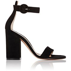 Gianvito Rossi Women's Versilia Ankle-Strap Sandals (1,300 BAM) ❤ liked on Polyvore featuring shoes, sandals, heels, colorless, high heel shoes, block heel sandals, chunky heel sandals, buckle sandals and black heeled sandals