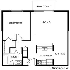 1 bedroom, 1 bathroom. this is an apartment floor plan. | small