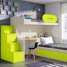 Kid's Bedroom Decor Idea – Race Cars and Racing Home Decor Furniture, Bedroom Furniture, Bedroom Decor, Modern Bunk Beds, Condo Interior, Bunk Bed Designs, Kids Room Design, Bedroom Styles, Girl Room