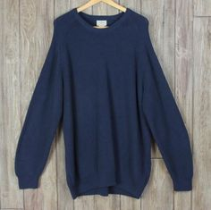 Mens LL Bean Sweater XXL size Navy Blue Cotton Career Casual Heavy Crew Neck