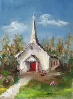 Painting by the Lake: Corky's Little Church - SOLD