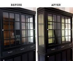 black china hutch with window cabinets. painting the inside of your hutch white makes all the difference. Refurbished Furniture, Furniture Makeover, Painted Furniture, Diy Furniture, Grey Dinning Room, Dining Rooms, China Cabinet Redo, China Cabinets, Funky Kitchen