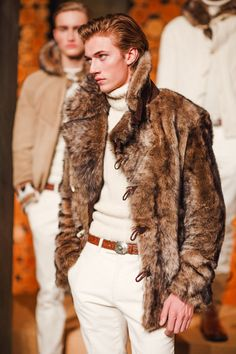 Model Lucky Blue Smith is photo ready in shearling for the Fall 2016 Purple Label presentation at the Palazzo Ralph Lauren #MFW