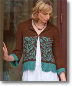 Collared, three-quarter sleeve cardigan with lace edging and colourwork