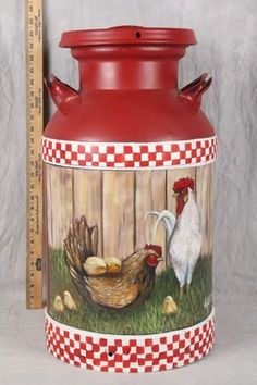 Vintage metal milk can w/hp rooster design! 24 in high x 13 in diameter