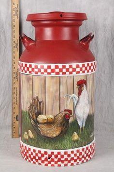 Vintage metal milk can w/hp rooster design! 24 in high x 13 in diameter