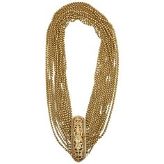 Preowned Gold Wash Over Sterling Silver Link Beaded Strand Necklace... (5.780 BRL) ❤ liked on Polyvore featuring jewelry, necklaces, brown, art deco necklace, multi strand gold necklace, sterling silver ball necklace, brown bead necklace and gold bead necklace