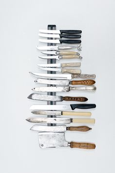 that trust magnetic knife holder from IKEA makes a great (an inexpensive) display for vintage knives. // photographer Adriaan Louw