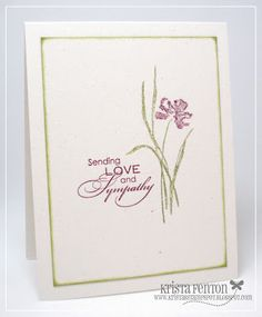 I just love the set Love & Sympathy. For this card I kept it really simple, just focusing on the pretty flower. Pet Sympathy Cards, Poppy Cards, Get Well Cards, Flower Cards, Greeting Cards Handmade, Homemade Cards, Making Ideas, Note Cards, Cardmaking