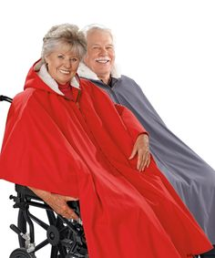 Our Exclusive Wheelchair/Poncho Capes are adaptive handicap clothing at its best. This wheel chair clothing cape provides winter coat warmth for women and men in wheelchairs. The shorter back stays clear of wheels! It has an attached hood to help keep out the rain, and a convenient front zipper. Length from back of neck to hem is 41 inches at the front and 26 inches at the back to stay clear of wheels