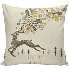 Christmas Pillow Throw Pillow Cover French Vintage Festive Wishes Deer... ($35) ❤ liked on Polyvore featuring home, home decor, deer home decor, handmade home decor, neutral home decor and burlap home decor