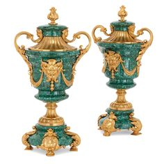 Pair of Grotesque Rococo style ormolu mounted malachite vases Urn Vase, Granite Stone, Rococo Style, Pink Room, Vases Decor, Malachite, Bird Feathers, Baroque, Art Nouveau