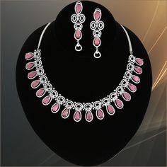 Rhodium Plated Light Coral Pink Zircon studded Luxury Gemstone Jewelry for Women Pendant Jewelry, Jewelry Art, Antique Jewelry, Gold Jewelry, Women Jewelry, Jewelry Design, American Diamond Jewellery, Diamond Jewelry, Gemstone Jewelry