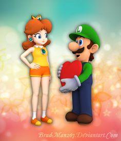 Luigi, you sly dog. Well, it makes sense since he's Daisy's love interest. Luigi and Daisy: Valentine's Day 2017 Luigi And Daisy, Mario And Luigi, Mario Princess Daisy, Princesa Daisy, Daisy Love, Super Mario Bros, Tomboy, Cool Artwork, Peanuts