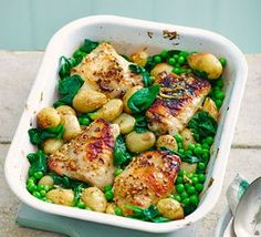 Honey & mustard chicken thighs with spring veg This self-saucing one-pot is like a roast dinner without the fuss, plus it's rich in iron, fibre and folate Pastas Recipes, Veg Recipes, Cooking Recipes, Healthy Recipes, One Pot Recipes, Kitchen Recipes, Easy Recipes, Recipies, Honey Mustard Chicken