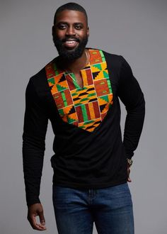 Omari Men's African Print Long Sleeve Shirt (Yellow Green Kente) Style Rep your roots in our stylish Omari Long Sleeve Shirt in our Yellow Green Kente Print! African Formal Dress, African Attire, African Wear, African Dress, Formal Dresses, African Fashion Designers, African Inspired Fashion, African Men Fashion, Mens Fashion