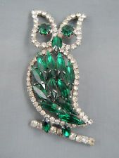 Rare Vintage Juliana Green Navette & Clear Rhinestone Owl Figural Brooch Pin